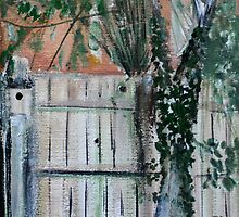 Cherry Tree And Ivy Plein Air Contemporary Acrylic Painting by JamesPeart