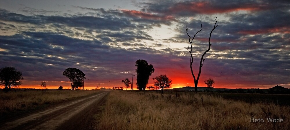Sunset on a Country Road - Near Toowoomba Qld by Beth  Wode