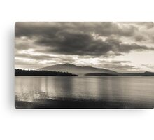 Wallaga Lake and Gulaga Mountain Black & White Canvas Print