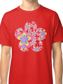 Flower Power, Cascade of Colorful Flowers Classic T-Shirt