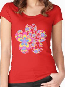 Flower Power, Cascade of Colorful Flowers Women's Fitted Scoop T-Shirt