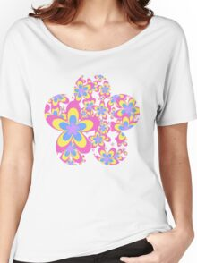 Flower Power, Cascade of Colorful Flowers Women's Relaxed Fit T-Shirt