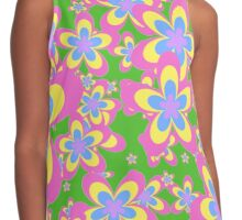 Flower Power, Cascade of Colorful Flowers Contrast Tank