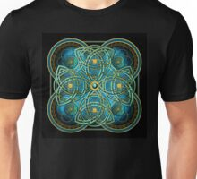 Celtic Cross Tapestry in Gold and Teal Unisex T-Shirt