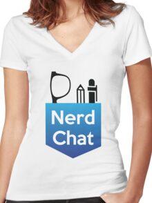 Nerd Chat Logo (White Lettering) Women's Fitted V-Neck T-Shirt