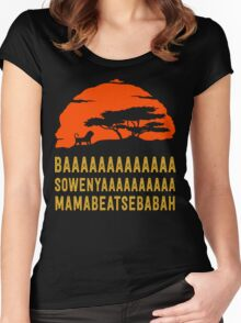 BAAAAAAAAAAAAA SOWENYAAAAAAAAAA MAMABEATSEBABAH African Lion T Shirt Women's Fitted Scoop T-Shirt