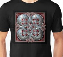 Celtic Hearts Tapestry in Silver and Red Unisex T-Shirt