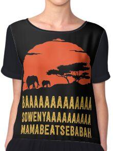 BAAAAAAAAAAAAA SOWENYAAAAAAAAAA MAMABEATSEBABAH African Sunrise Elephants Shirt Chiffon Top