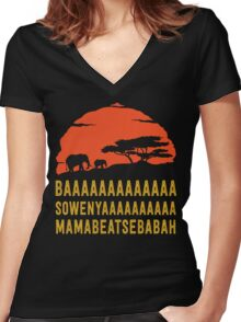 BAAAAAAAAAAAAA SOWENYAAAAAAAAAA MAMABEATSEBABAH African Sunrise Elephants Shirt Women's Fitted V-Neck T-Shirt