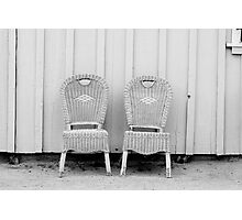 Blue and Yellow Chairs in Black and White Photographic Print