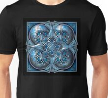 Celtic Hearts Tapestry in Silver and Blue Unisex T-Shirt