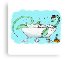Plesiosaur in the bath Canvas Print