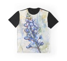 Texas Bluebonnet Wildflower Watercolor Graphic T-Shirt