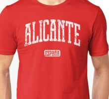 Alicante Spain (White Print) Unisex T-Shirt