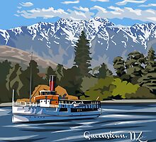 Queenstown, Remarkables and Earnslaw, NZ by Ira Mitchell-Kirk