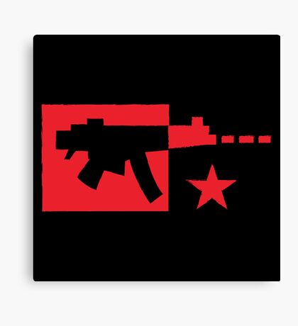 Red computer gamer digital machine gun Canvas Print