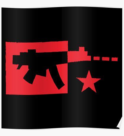Red computer gamer digital machine gun Poster