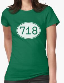 Area Code 718 (White Print) Womens Fitted T-Shirt