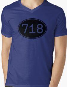 Area Code 718 (Black Print) Mens V-Neck T-Shirt
