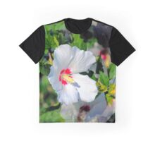Red Hearted White Hibiscus Syriacus Graphic T-Shirt