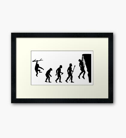 Funny Evolution of Rockclimbing  Framed Print