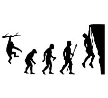 Funny Evolution of Rockclimbing  Photographic Print