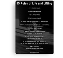 10 Rules Of Life and Lifting Canvas Print