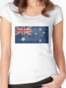 The National flag of Australia, retro textured version (authentic scale 1:2) Women's Fitted Scoop T-Shirt