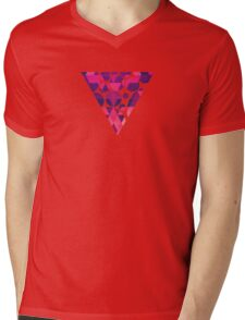 Abstract Symertric geometric triangle texture pattern design in diabolic magnet future red Mens V-Neck T-Shirt