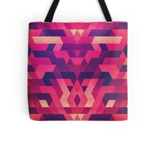 Abstract Symertric geometric triangle texture pattern design in diabolic magnet future red Tote Bag