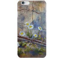 Daisies at rusted gate by gerdasmitart iPhone Case/Skin