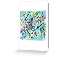 Strings in blues, greens, purples Greeting Card