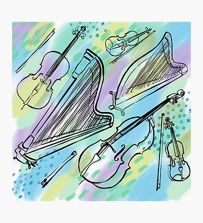 Strings in blues, greens, purples Photographic Print