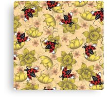 Flowers and Ladybugs Canvas Print