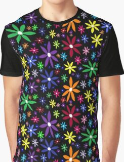 Colorful Retro Flowers on Black Graphic T-Shirt