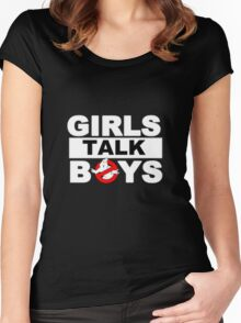 ✦ girls talk boys ✦ *5sos* Women's Fitted Scoop T-Shirt
