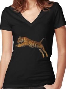 Polygon Tiger Jumping  Women's Fitted V-Neck T-Shirt