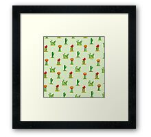 Watercolor Cacti on Green Framed Print