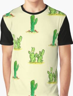 Cactus Watercolor Pattern on Yellow Graphic T-Shirt