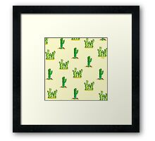 Cactus Watercolor Pattern on Yellow Framed Print