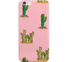 Cactus Watercolor Pattern on Pink iPhone Case/Skin