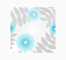 Garden flowers and Leaves pattern, spiral floral sky blue Womens Fitted T-Shirt