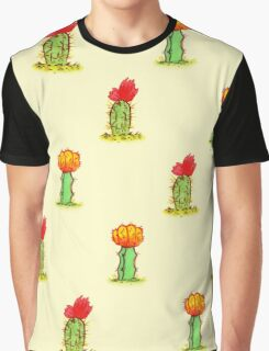 Colorful Cactus in Yellow Graphic T-Shirt