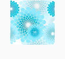 Spiral flowers pattern, geometric floral sky blue Womens Fitted T-Shirt