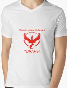Team Valor Through Courage and Passion Pokemon Go Merchandise Mens V-Neck T-Shirt