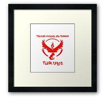 Team Valor Through Courage and Passion Pokemon Go Merchandise Framed Print