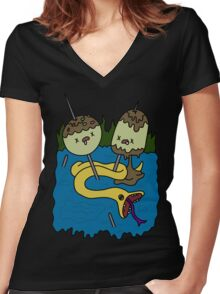 adventure time rock shirt Women's Fitted V-Neck T-Shirt