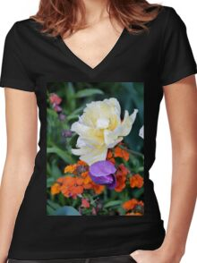 Colorful Flowers Women's Fitted V-Neck T-Shirt
