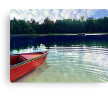 Red Boat on Rippling Lake Canvas Print