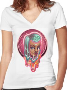 Trippy Drippy Girl Women's Fitted V-Neck T-Shirt